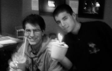 Ryan Mcgee and Nathan Matias enjoying Nate's 21st birthday on a late study night at the Harbour Coffee House