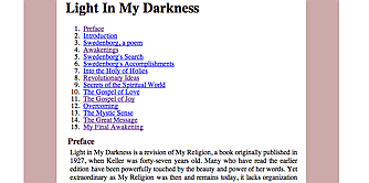 screenshot of XSLT transformation of Tinderbox file of Helen Keller's religious autobiography Light in My Darkness