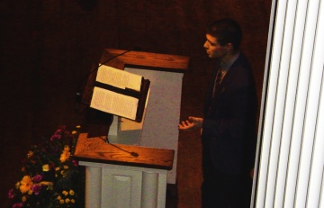 J. Nathan Matias, speaking at the Elizabethtown College Baccalaureate Ceremony, 2005