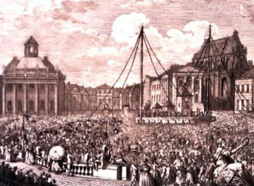 scan of an engraving depicting a huge 19th century crowd engaged in some massive building project