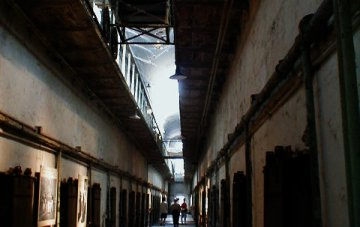 A corridor in the Eastern State Penitentiary