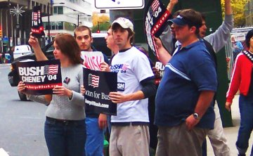 Supporters of George W. Bush in Philadelphia